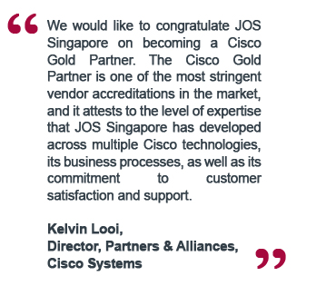 Congratulation message from Kelvin Looi, Cisco Systems